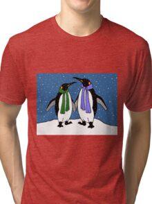 Penguin Couple in Snowy Landscape No. 2, Whimsical Art Tri-blend T-Shirt