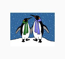 Penguin Couple in Snowy Landscape No. 2, Whimsical Art Classic T-Shirt