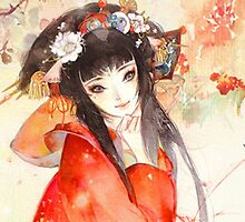 TRANDITIONAL CHINESE PAINTING-GIRL by deviloblivious