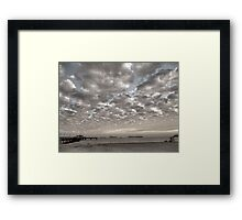 Caught in between a Pier and Lifeguard Tower Framed Print