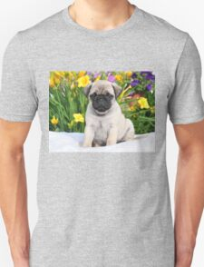 Cute Puppy Caesar the Pug by AiReal Apparel Unisex T-Shirt