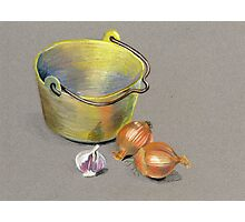 Brass Pan and Onions Photographic Print
