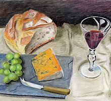 Crusty Bread and Cheese by Maureen Sparling