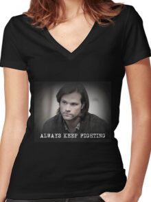 Jared Padalecki Always Keep Fighting Women's Fitted V-Neck T-Shirt
