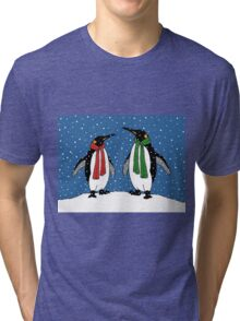 Penguin Couple in Snowy Landscape No. 3, Whimsical Art Tri-blend T-Shirt