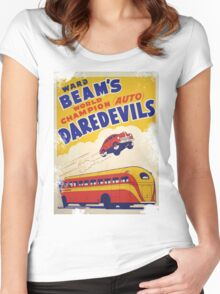 Dare devil Autos 1950 s poster t-shirt vintage Women's Fitted Scoop T-Shirt