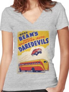 Dare devil Autos 1950 s poster t-shirt vintage Women's Fitted V-Neck T-Shirt
