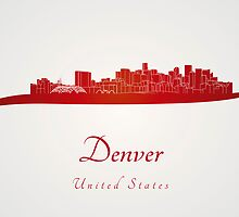 Denver skyline in red by Pablo Romero