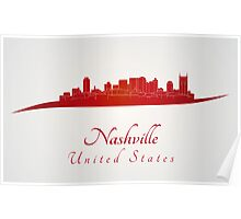 Nashville skyline in red Poster