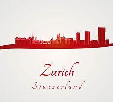 Zurich skyline in red by paulrommer