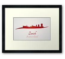 Zurich skyline in red Framed Print