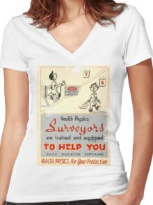 Health Physics 1950's t-shirt vintage  Women's Fitted V-Neck T-Shirt