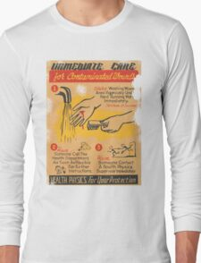 Radiation Warning poster 1950's Long Sleeve T-Shirt