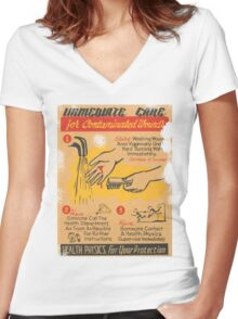 immediate care contaminated 1950's t-shirt Women's Fitted V-Neck T-Shirt