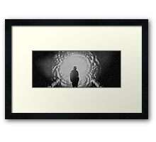 Jackson and the gate (blk/wht) Framed Print