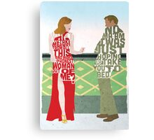 Emma Stone & Ryan Gosling from Gangster Squad Typography Design of Their Conversation Canvas Print