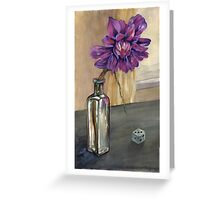 cold window, dahlia with dice Greeting Card