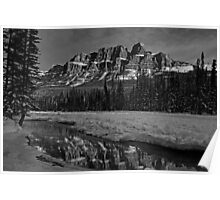 Castle Mountain in Black and White Poster