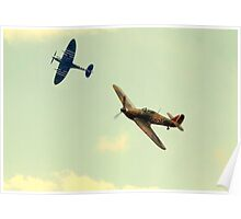 Spitfire IXe TA805(The Spirit of Kent) and Hawker Hurricane X AE997/P3886 Poster