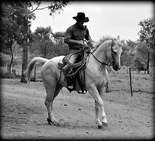 COWBOY and HORSE AT EASE by Barbara  Jean