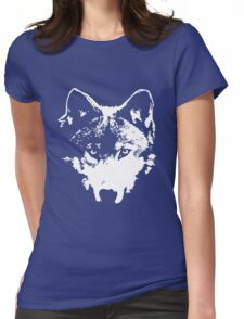 Vector Wolf Stare (White) Womens Fitted T-Shirt