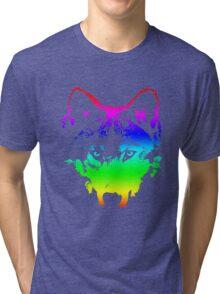 Vector Wolf Stare (Rainbow) Tri-blend T-Shirt