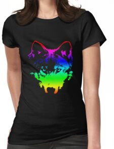 Vector Wolf Stare (Rainbow) Womens Fitted T-Shirt