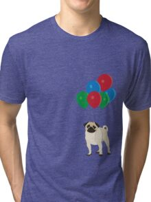 Balloon Pug Tri-blend T-Shirt
