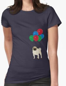 Balloon Pug Womens Fitted T-Shirt