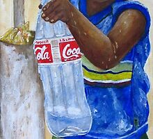 Little boy filling bottle with water by Sonja Peacock