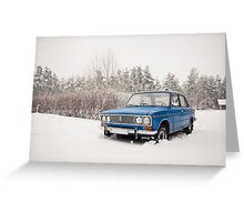 VAZ 2103 in winter Greeting Card