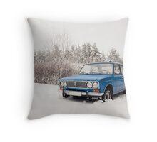 VAZ 2103 in winter Throw Pillow