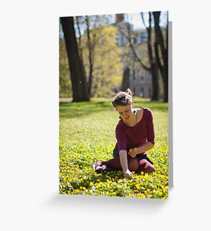 Girl picking flowers Greeting Card