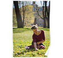 Girl picking flowers Poster