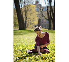 Girl picking flowers Photographic Print
