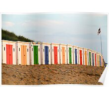 Coloured beach huts at Woolacoombe Poster