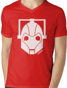Geek Shirt #1 Cyberman (White) Mens V-Neck T-Shirt
