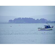 Blue Boat Alone Photographic Print