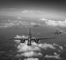 RAF Bostons at medium altitude black and white version by Gary Eason + Flight Artworks