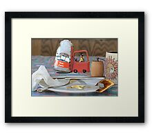 Clarence hates winter ....he's always being called out to clear the ice jams! Framed Print