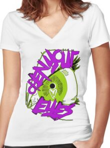 Open Your Eyes Women's Fitted V-Neck T-Shirt