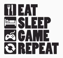 Eat, Sleep, Game, Repeat Kids Tee