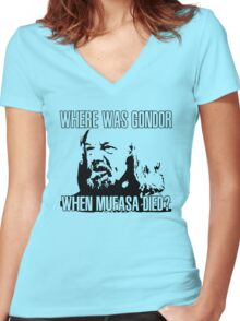 Where was Gondor? Women's Fitted V-Neck T-Shirt