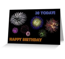 Fireworks 30th Birthday Card Greeting Card