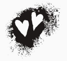Two hearts on grunge stain, black Kids Tee