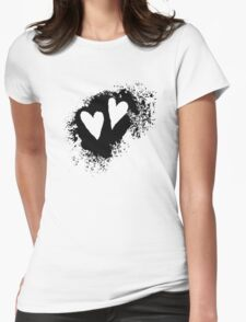 Two hearts on grunge stain, black Womens Fitted T-Shirt