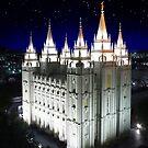 Salt Lake Temple Starry Night 20x24 by Ken Fortie