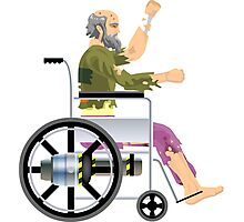 CHEAP happy wheels wheelchair guy  Photographic Print