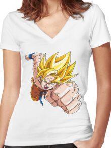 Son Goku (孫 悟空?), -Dragon Ball- Akira Toriyama-SSj1 Women's Fitted V-Neck T-Shirt
