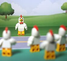 Chicken Suit Guy - Crossing the Road by emmkaycee